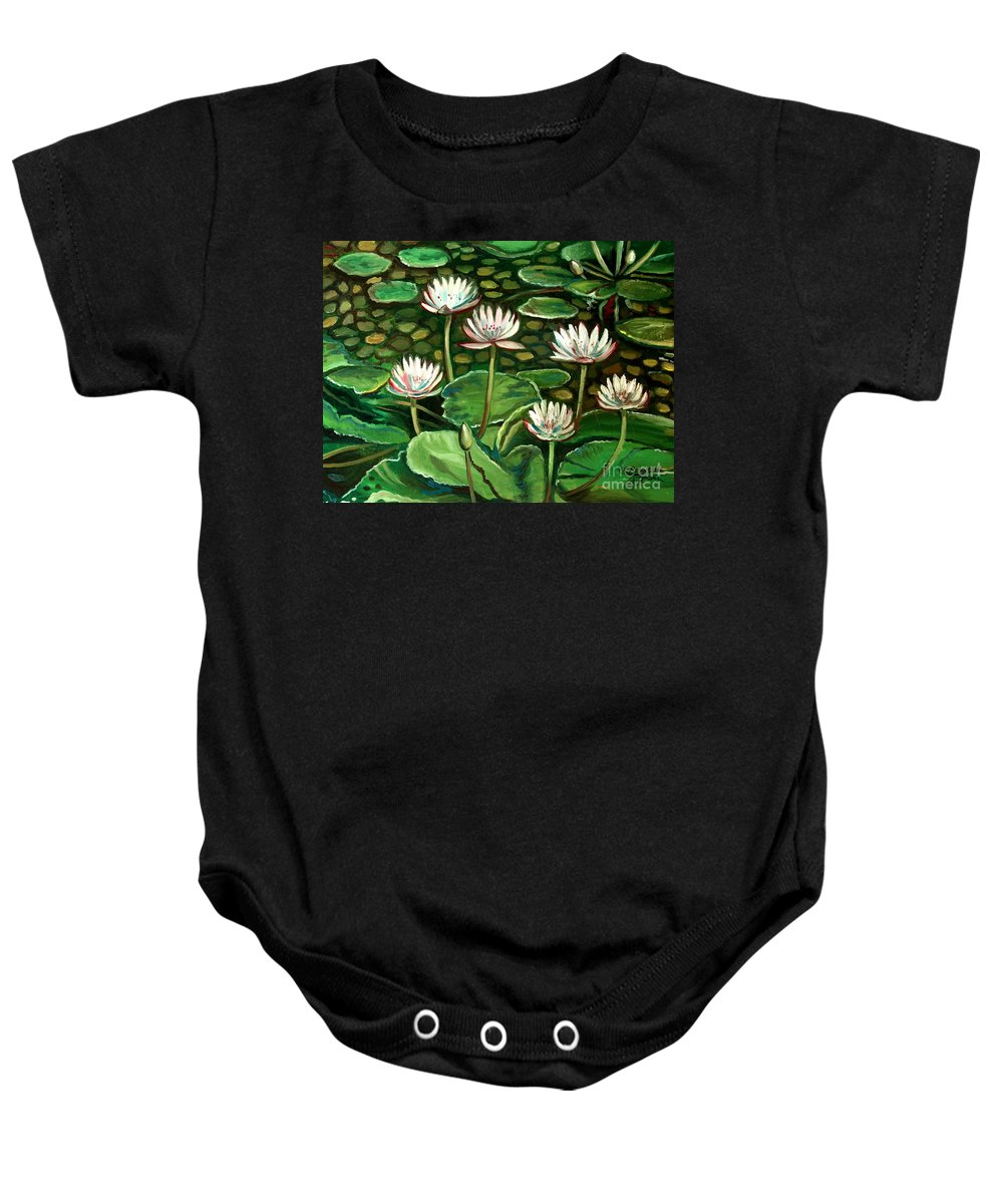 Water Baby Onesie featuring the painting Pond Of Petals by Elizabeth Robinette Tyndall
