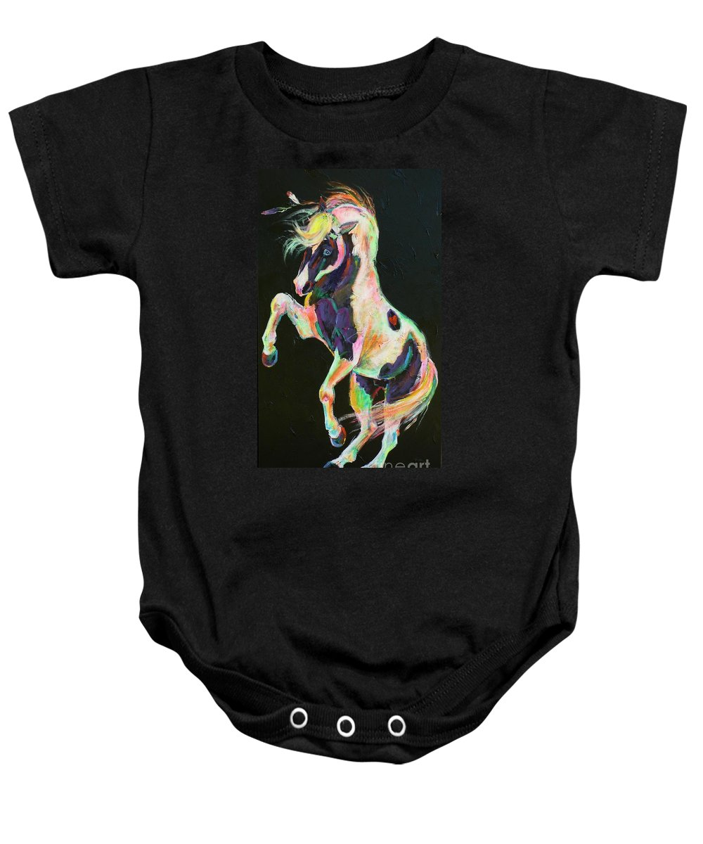 Paint Baby Onesie featuring the painting Pony Power II by Louise Green