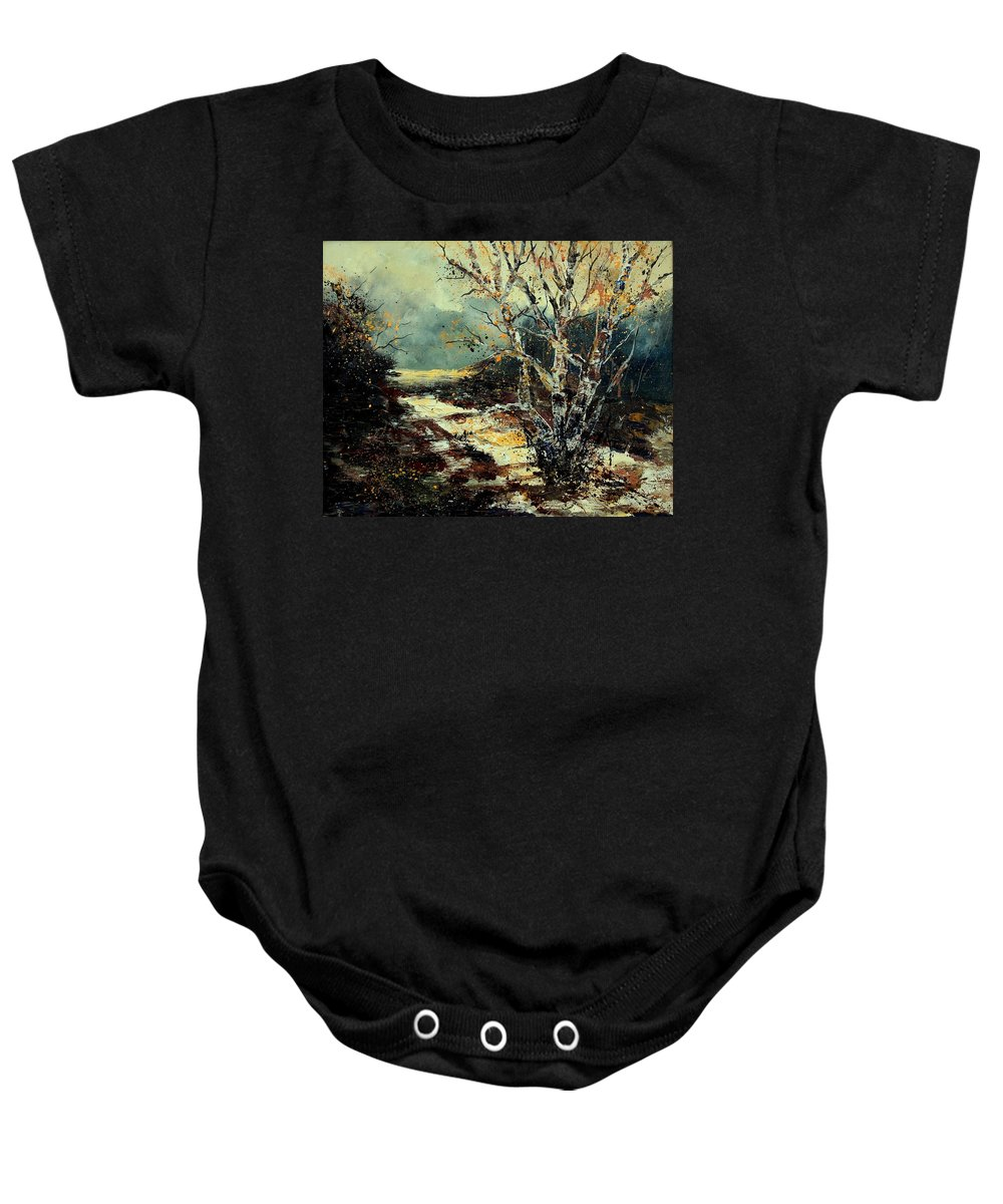 Tree Baby Onesie featuring the painting Poplars 45 by Pol Ledent