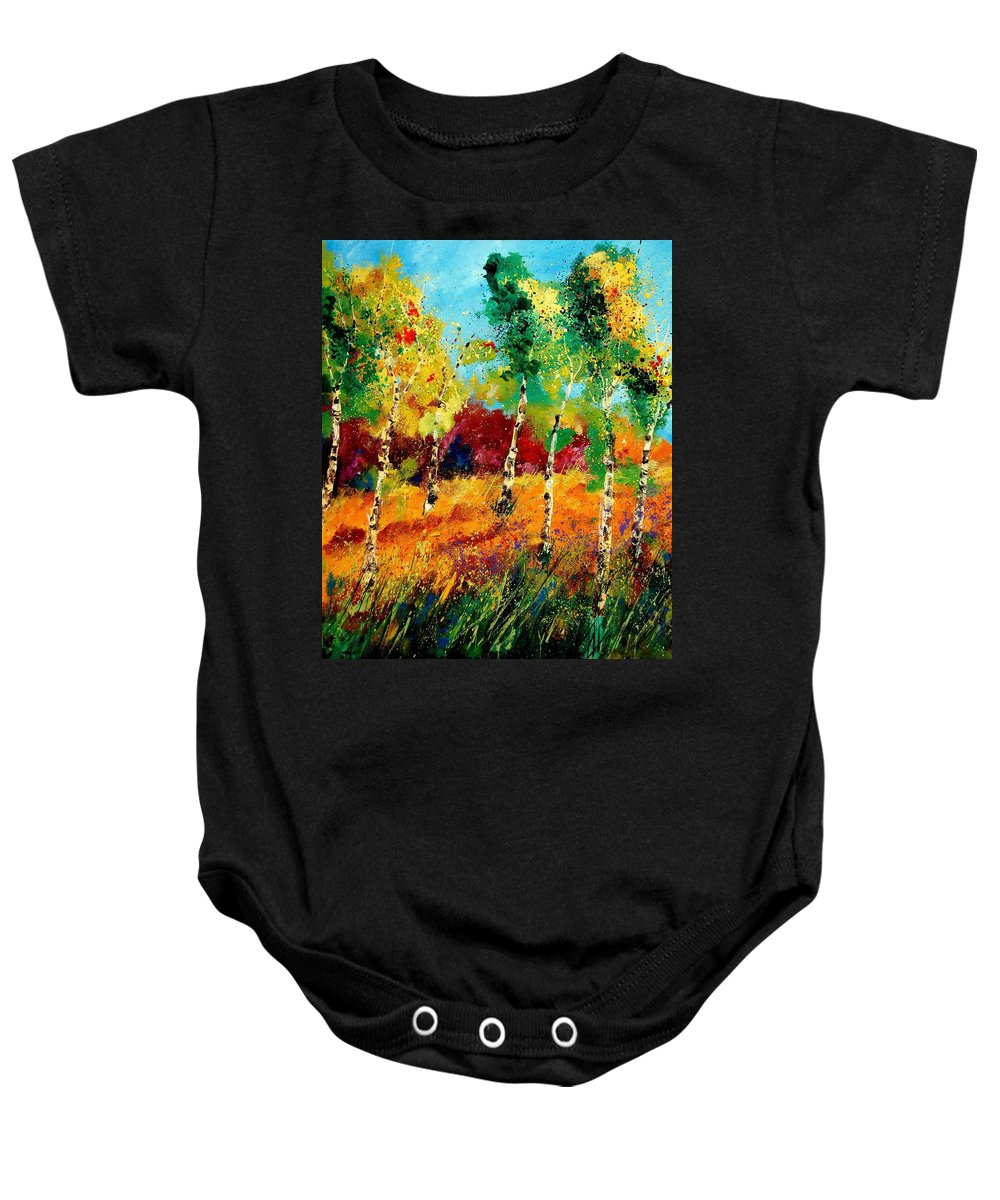 Poppy Baby Onesie featuring the painting Poplars '459070 by Pol Ledent