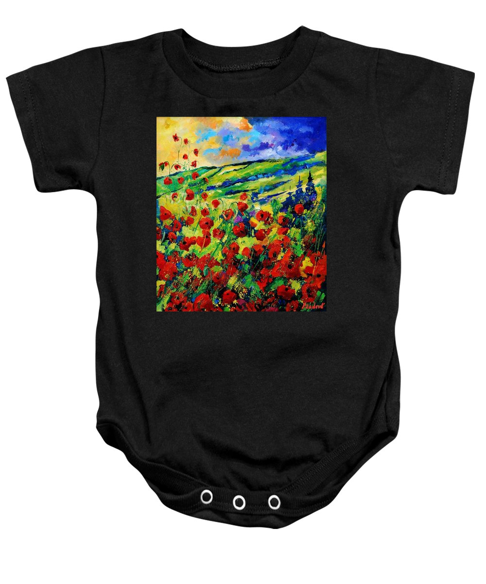 Flowers Baby Onesie featuring the painting Poppies 78 by Pol Ledent