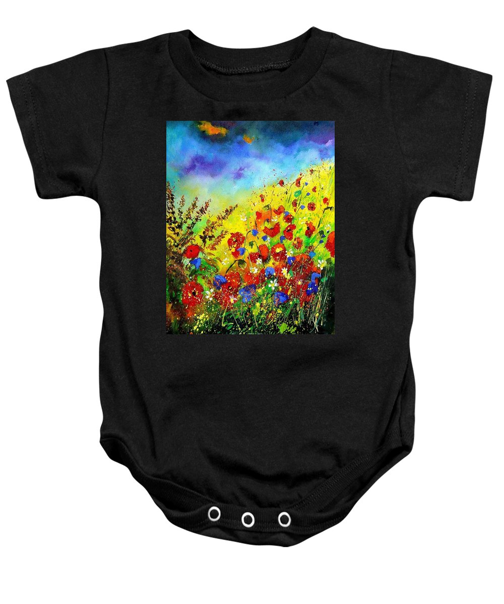 Poppies Baby Onesie featuring the print Poppies And Blue Bells by Pol Ledent
