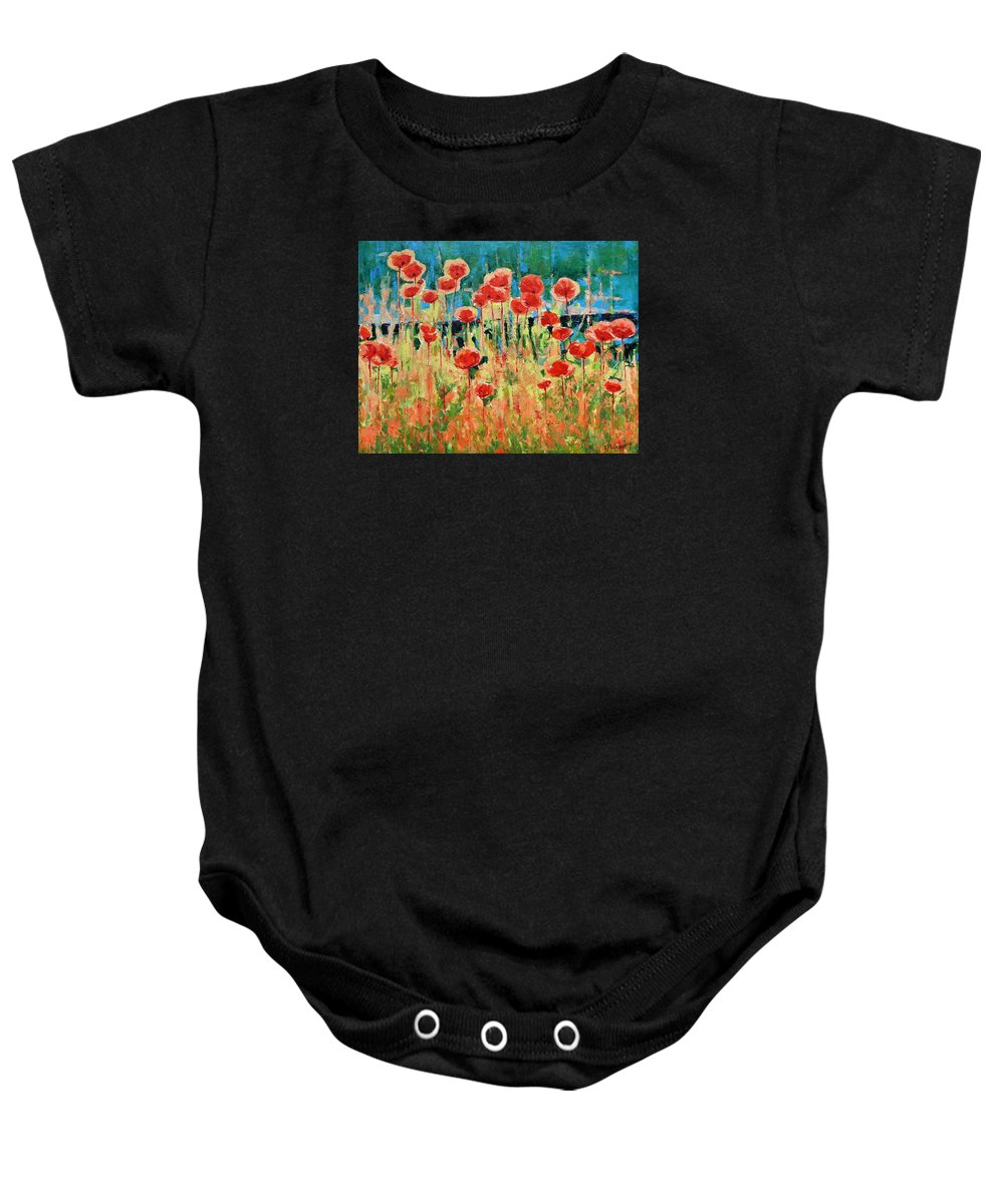 Poppies Baby Onesie featuring the painting Poppies And Traverses 2 by Iliyan Bozhanov
