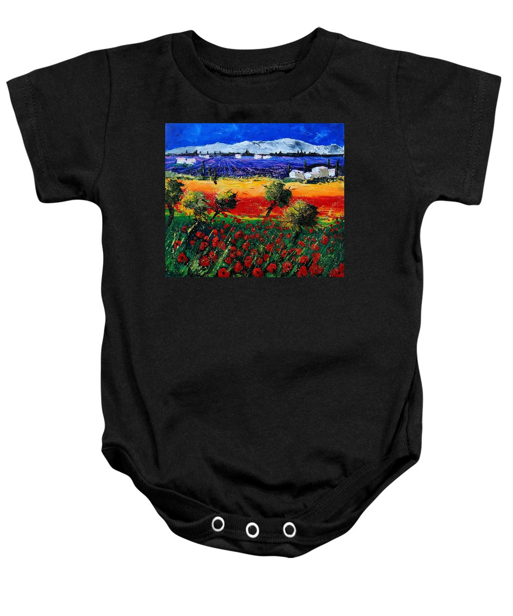 Poppy Baby Onesie featuring the painting Poppies in Provence by Pol Ledent