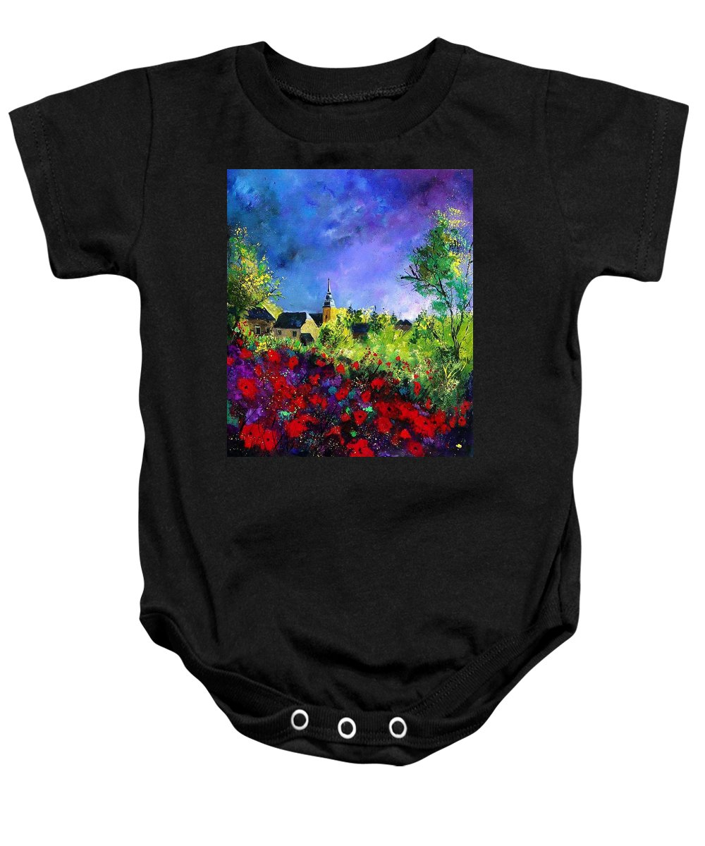 Flowers Baby Onesie featuring the painting Poppies in villers by Pol Ledent