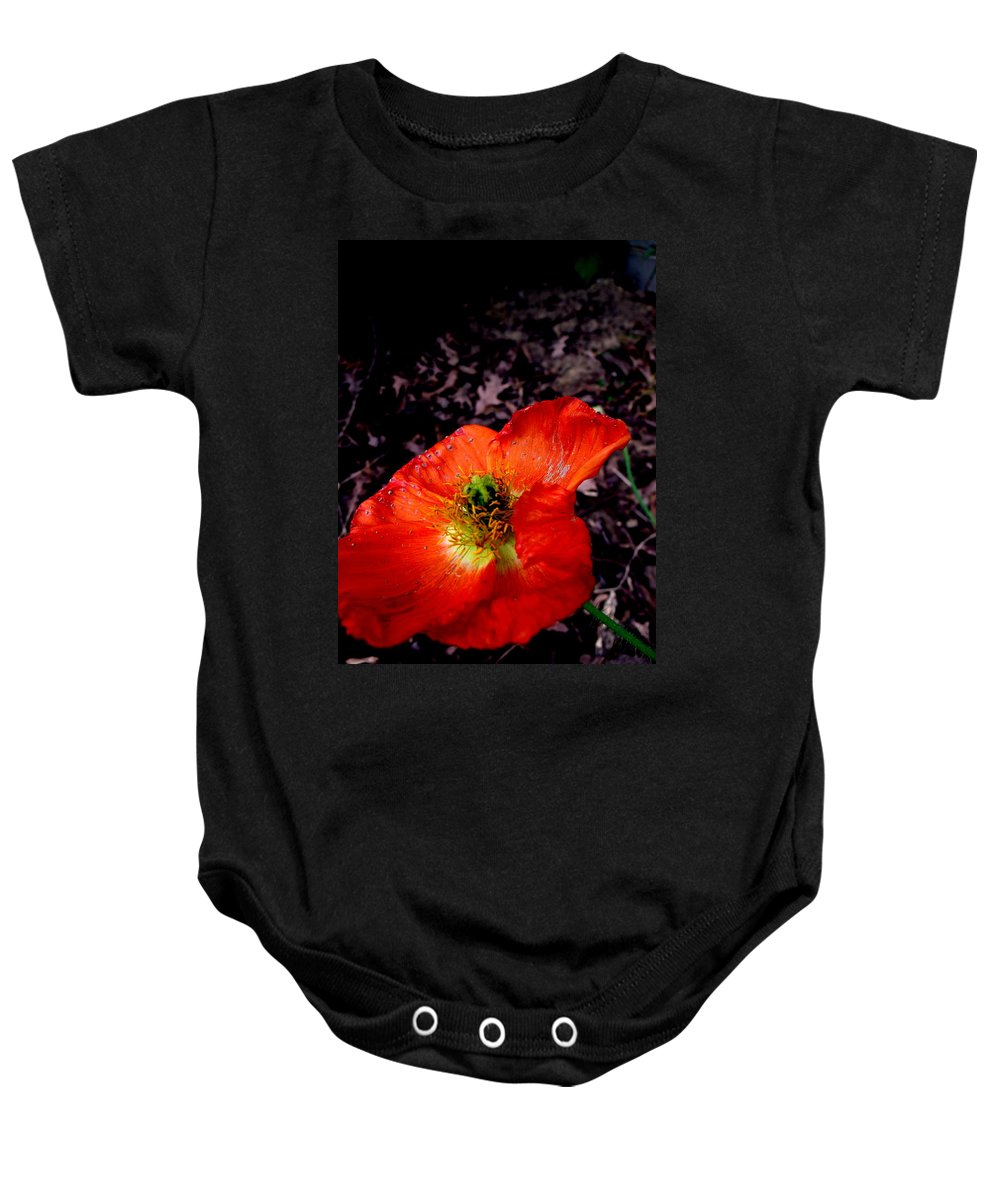 Poppy Baby Onesie featuring the photograph Poppy At Dusk by Erin Rednour