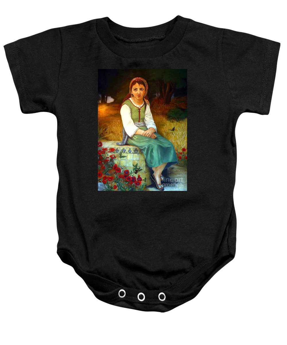 Landscape Painting Baby Onesie featuring the painting Poppy Field by Portraits By NC
