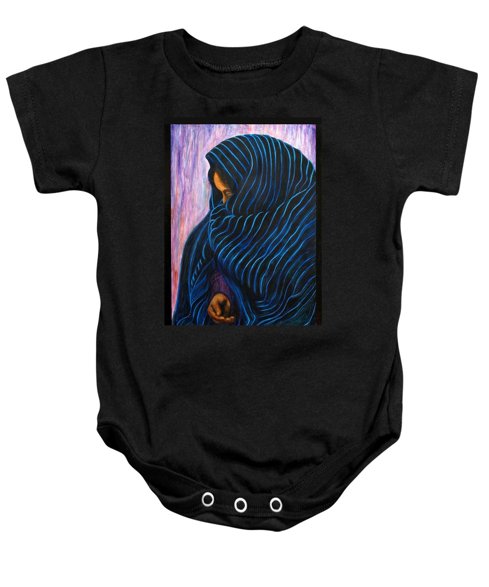 Mexican Baby Onesie featuring the painting Por Favor by Pat Haley