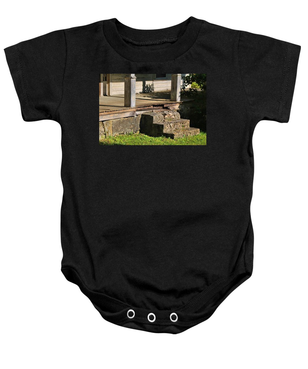 Porch Baby Onesie featuring the photograph Porch Stoop by Kathryn Meyer
