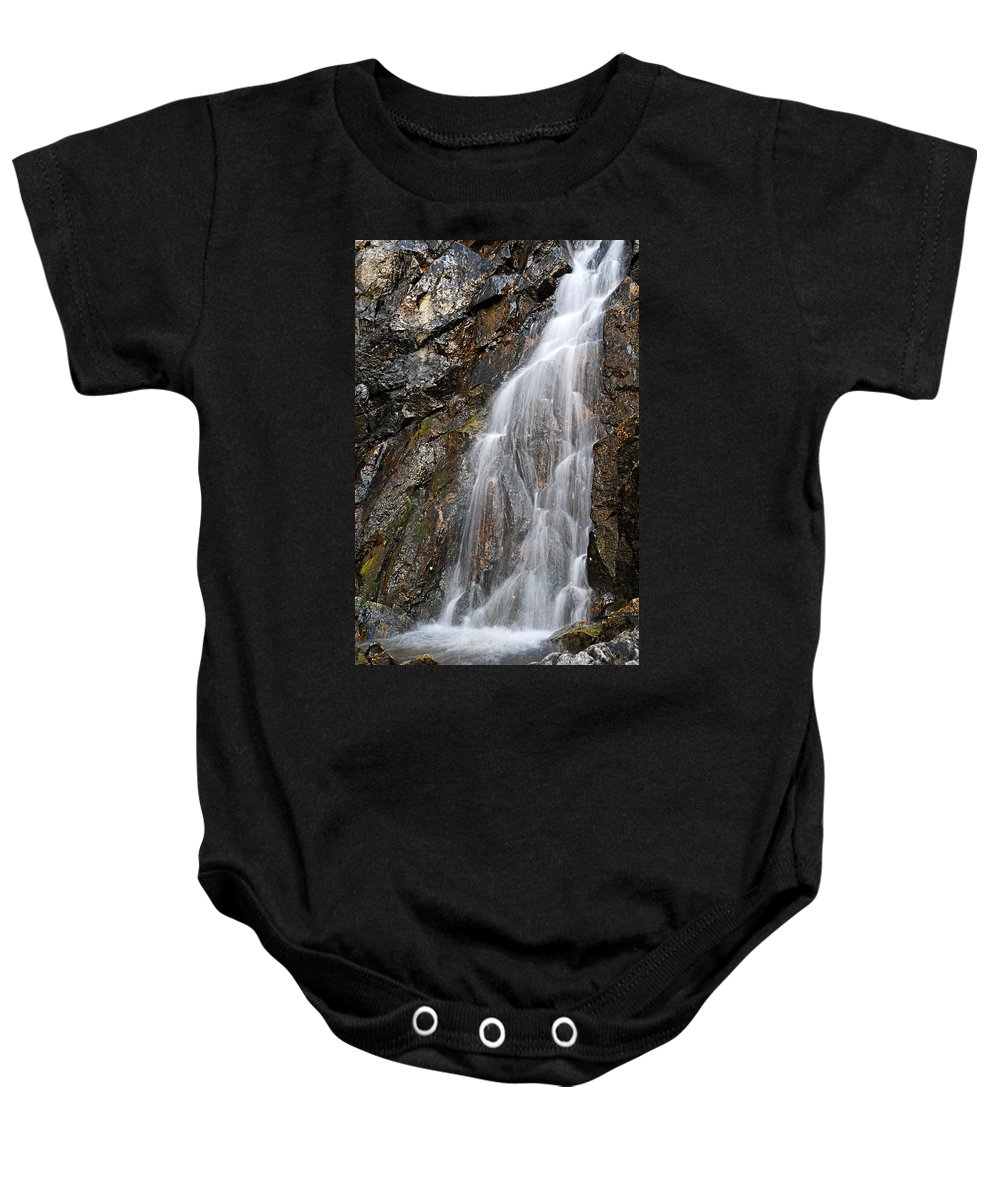 Porcupine Falls Baby Onesie featuring the photograph Porcupine Falls Side Chute by Larry Ricker