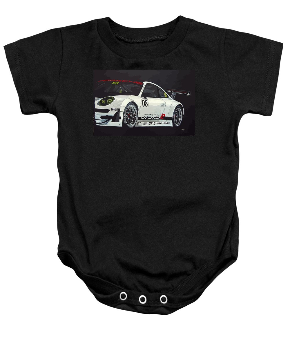 Car Baby Onesie featuring the painting Porsche Gt3 Rsr by Richard Le Page