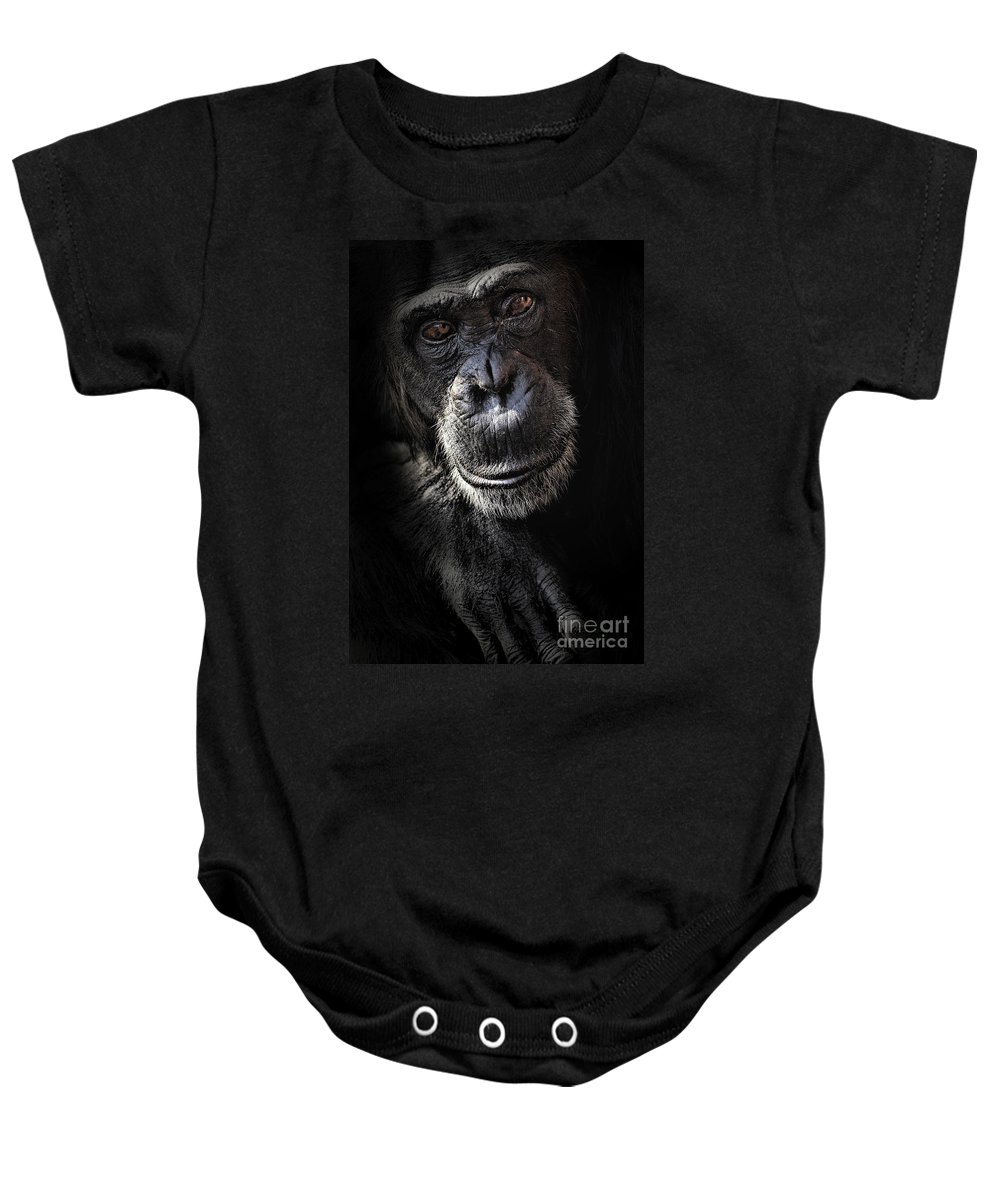 Chimp Baby Onesie featuring the photograph Portrait Of A Chimpanzee by Sheila Smart Fine Art Photography