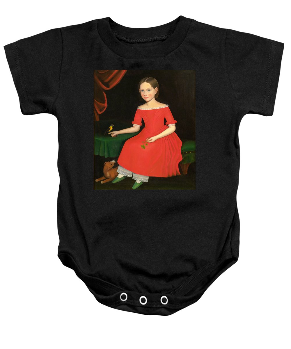 Ammi Phillips Baby Onesie featuring the painting Portrait Of A Winsome Young Girl In Red With Green Slippers Dog And Bird by Ammi Phillips