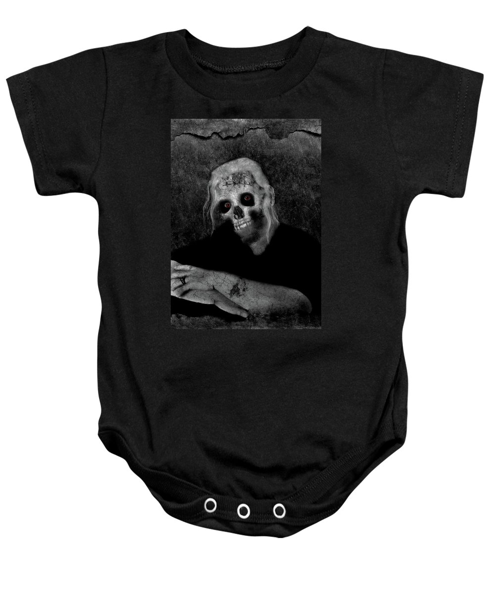 Portrait Baby Onesie featuring the photograph Portrait Of A Zombie by Amber Flowers
