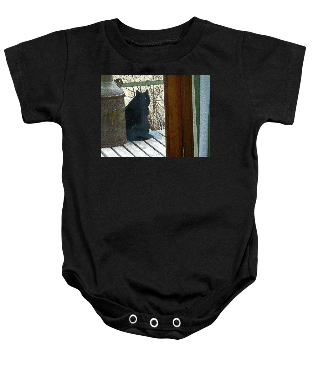 Abstract Baby Onesie featuring the photograph Portrait Of Abby by Lenore Senior