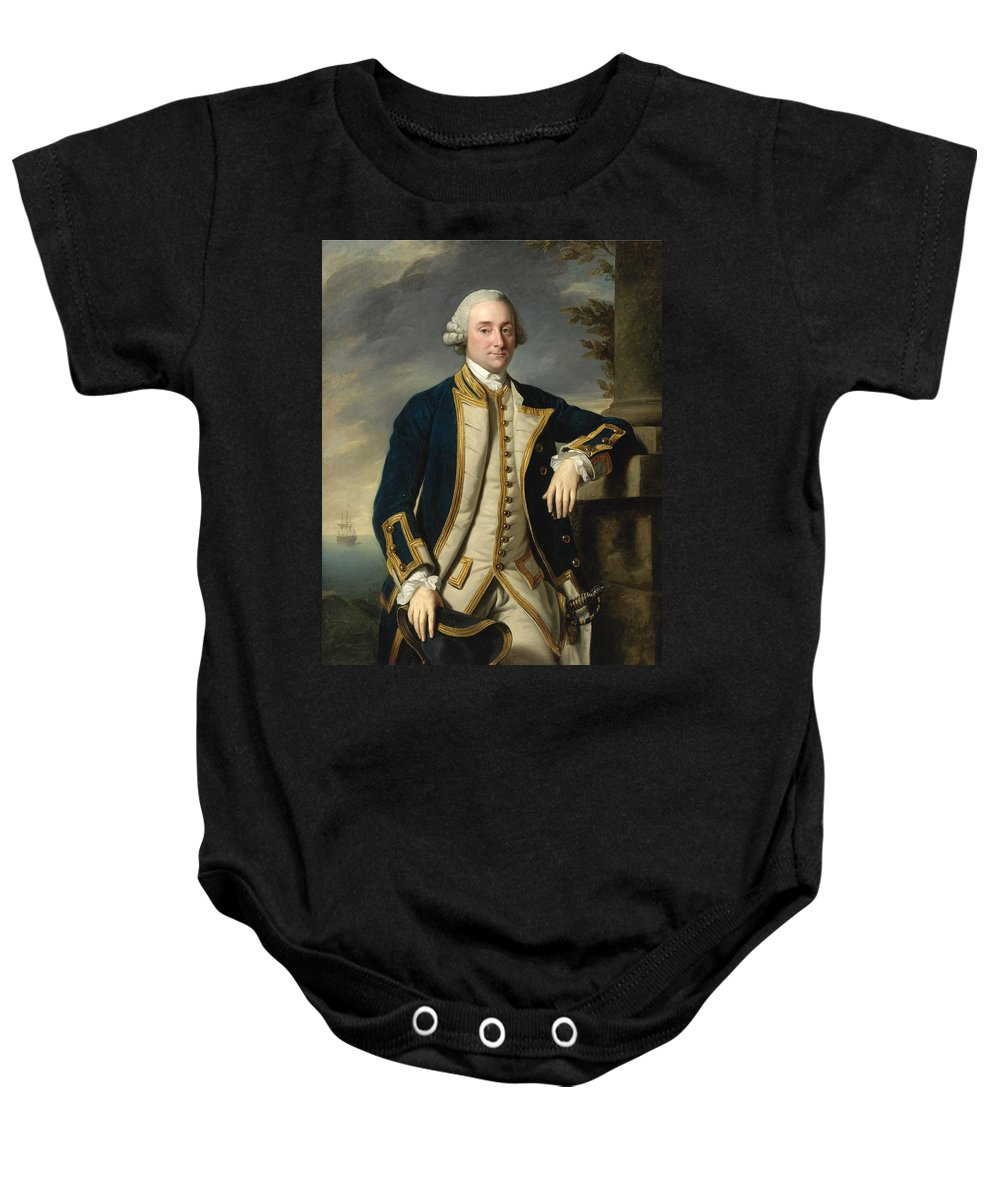 Nathaniel Dance Baby Onesie featuring the painting Portrait Of Admiral Sir Hugh Palliser 1st Bart by Nathaniel Dance