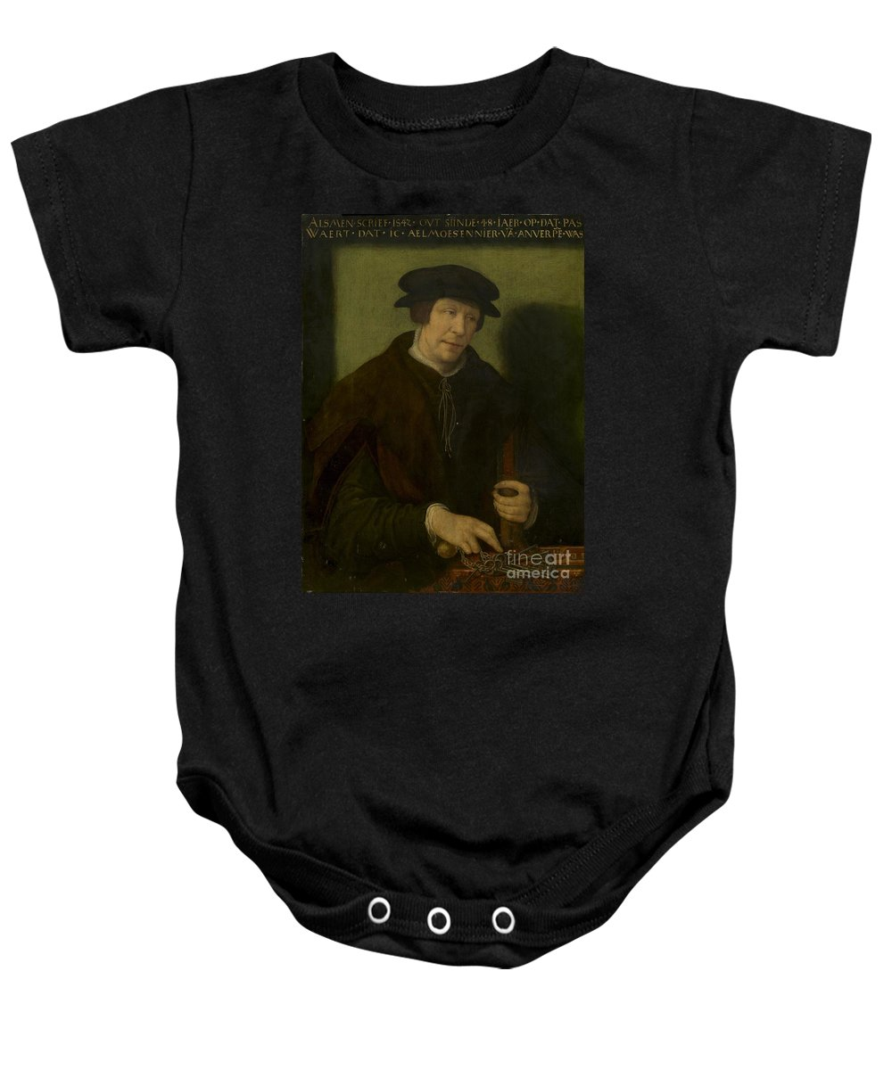 Baby Onesie featuring the painting Portrait Of An Almoner Of Antwerp by Antwerp 16th Century