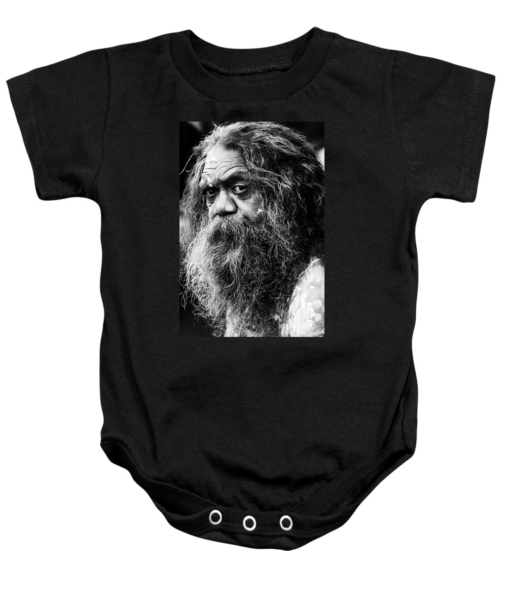 Aborigine Aboriginal Australian Baby Onesie featuring the photograph Portrait of an Australian aborigine by Sheila Smart Fine Art Photography
