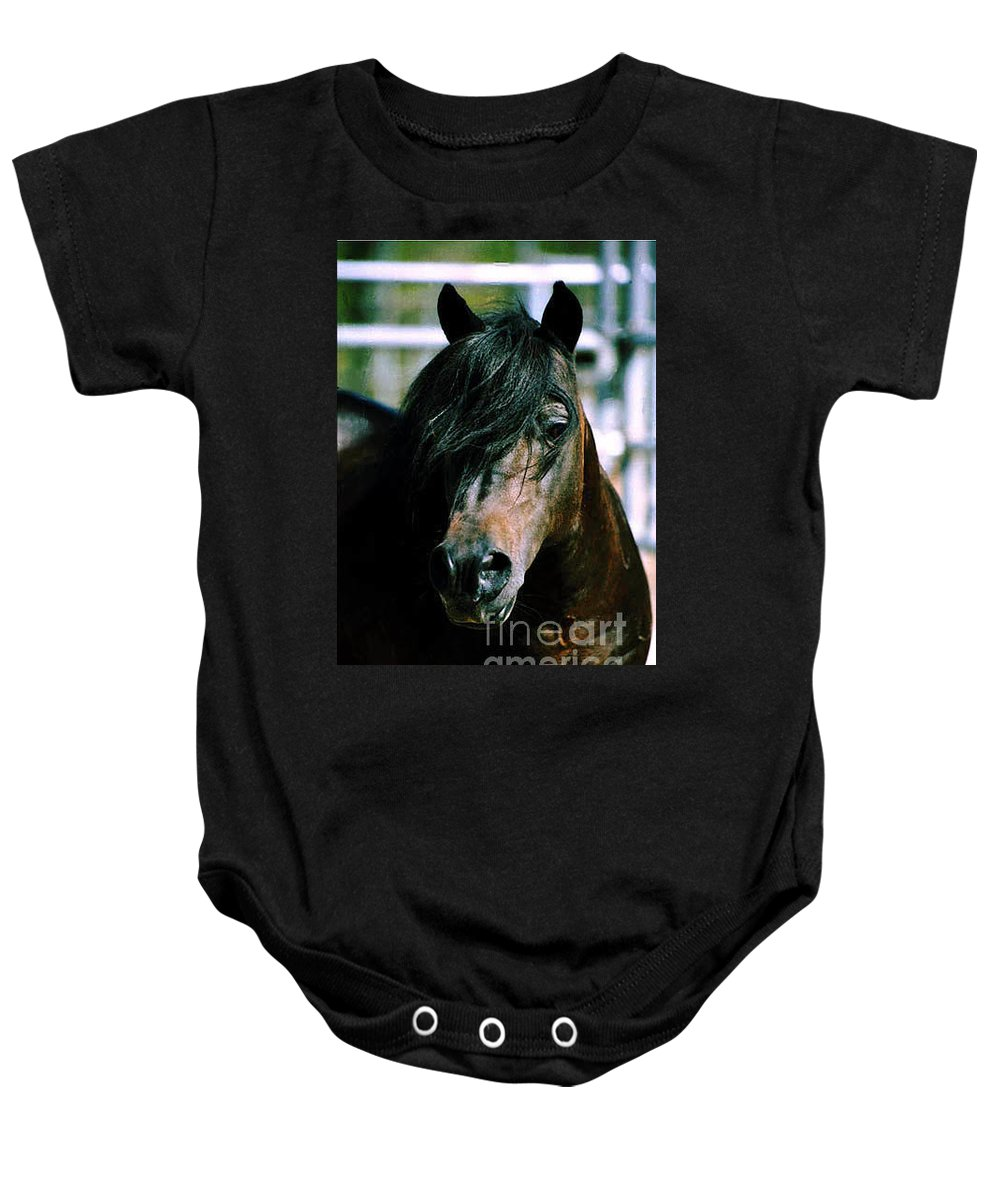 Horse Baby Onesie featuring the photograph Portrait Of His Majesty - The King by Kathy McClure