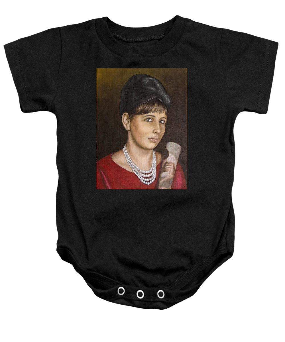 Portrait Baby Onesie featuring the painting Portrait Of My Mother Early Sixties by Rob De Vries