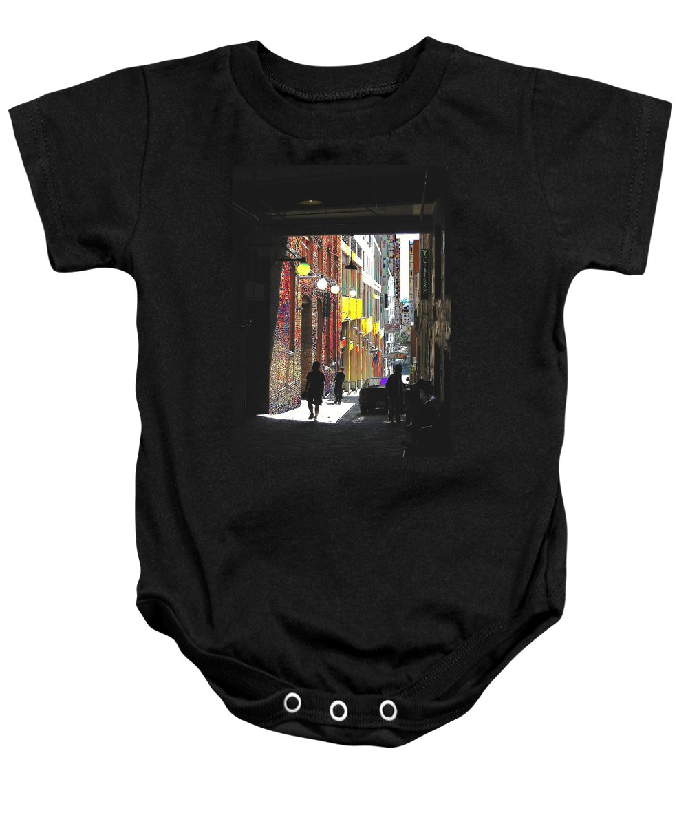 Seattle Baby Onesie featuring the digital art Post Alley by Tim Allen