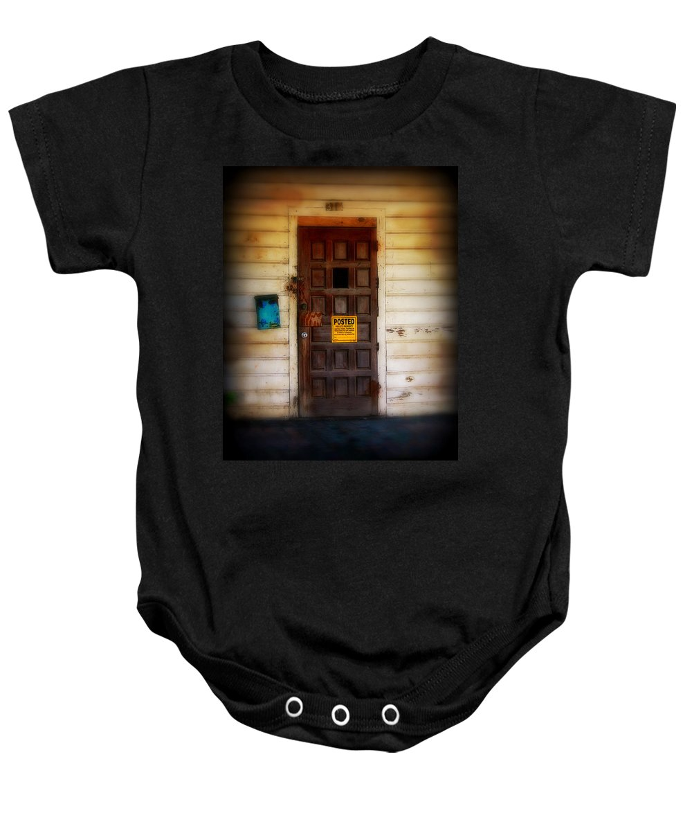 Door Baby Onesie featuring the photograph Posted by Perry Webster
