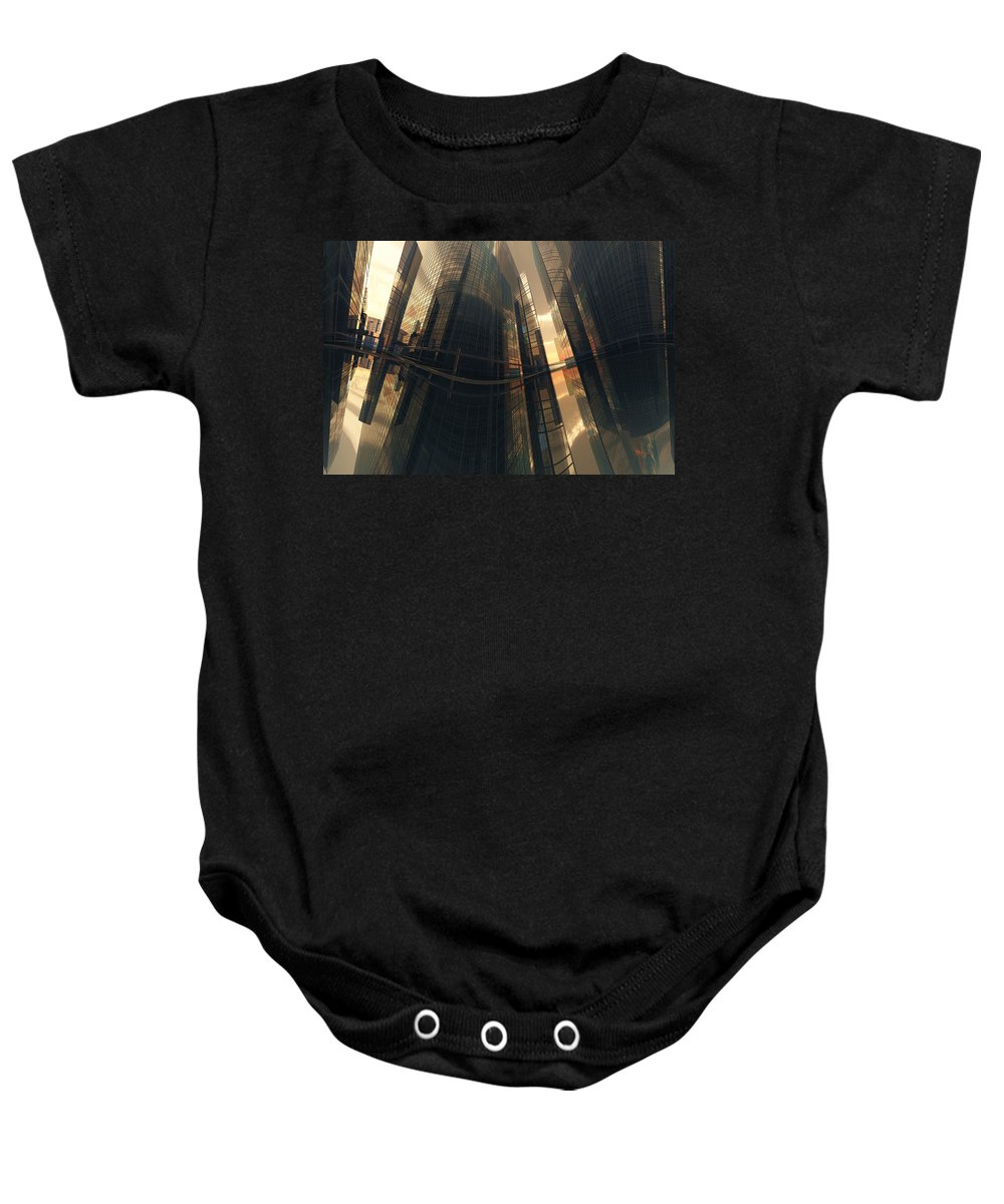 Reflection Baby Onesie featuring the digital art Poster-city 7 by Max Steinwald
