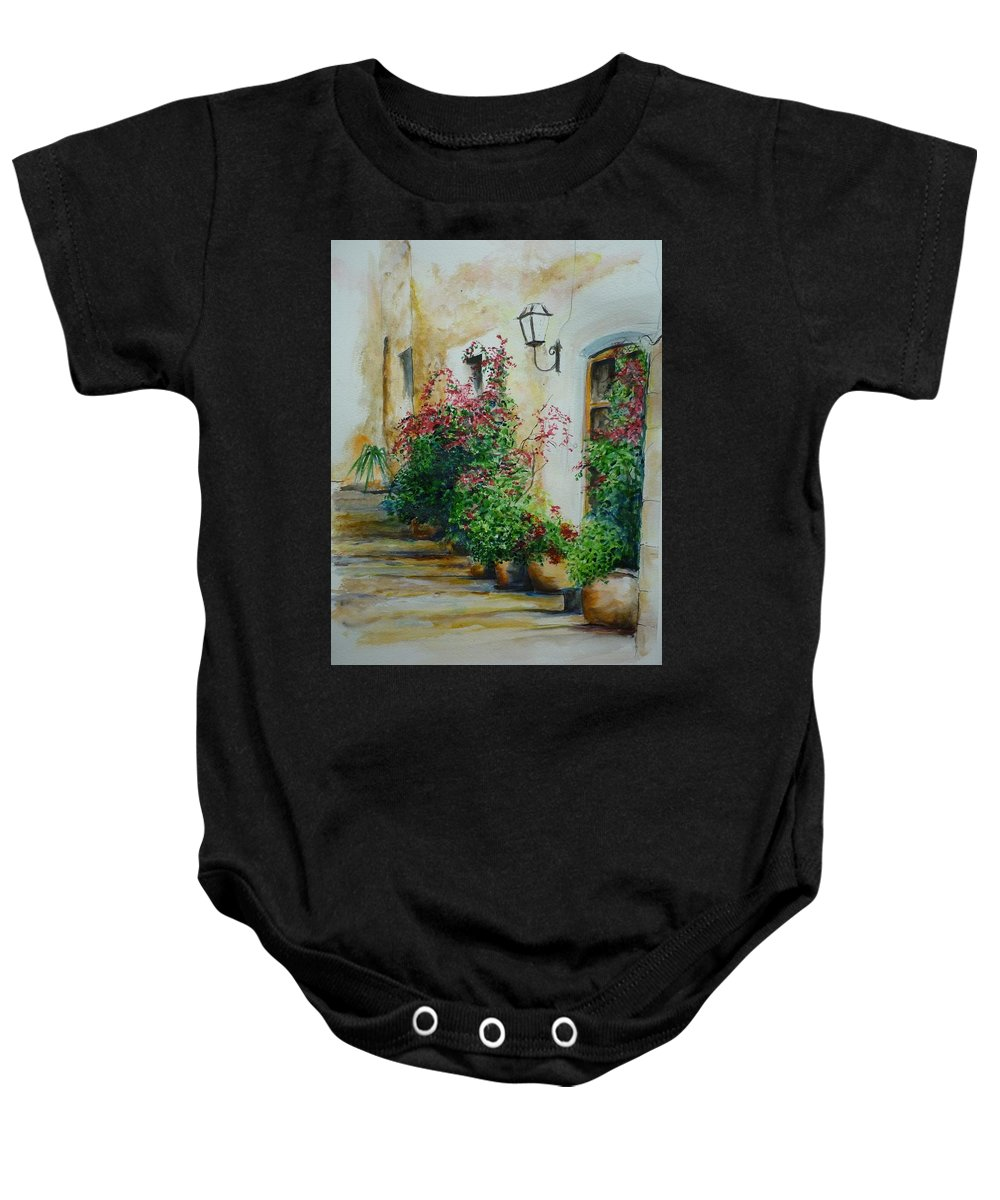 Earthenware Pots Baby Onesie featuring the painting Pots And Plants by Lizzy Forrester