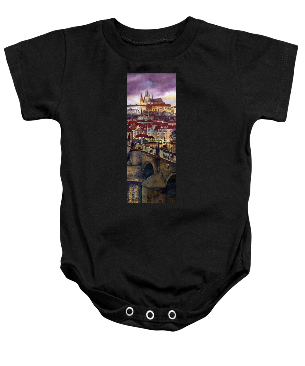 Prague Baby Onesie featuring the painting Prague Charles Bridge With The Prague Castle by Yuriy Shevchuk