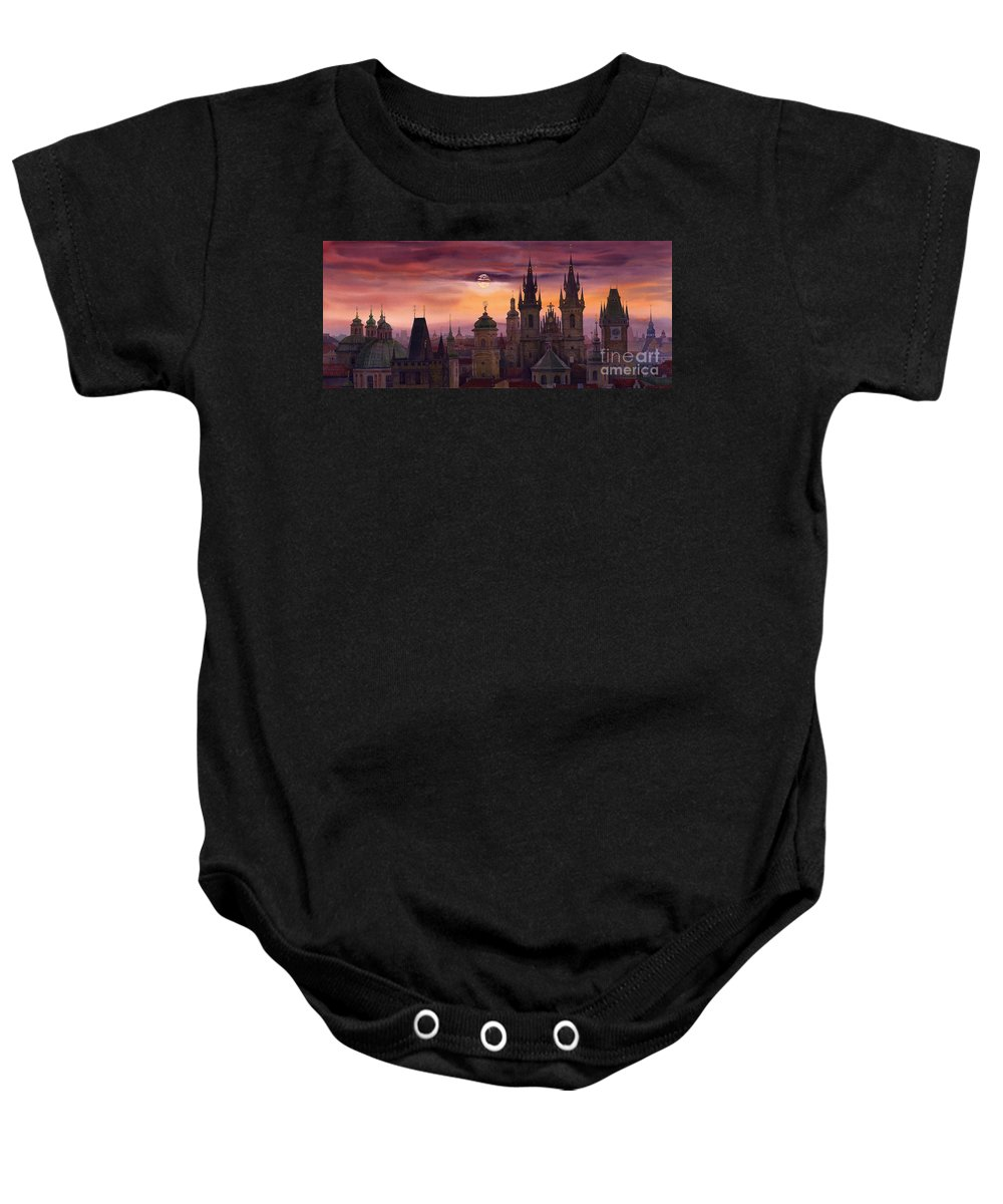Cityscape Baby Onesie featuring the painting Prague City Of Hundres Spiers by Yuriy Shevchuk