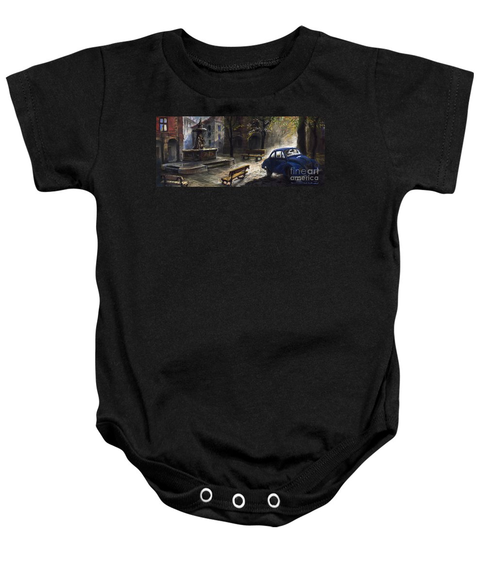 Prague Baby Onesie featuring the painting Prague Old Fountain by Yuriy Shevchuk