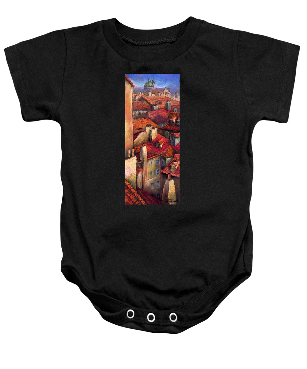 Prague Baby Onesie featuring the painting Prague Roofs by Yuriy Shevchuk