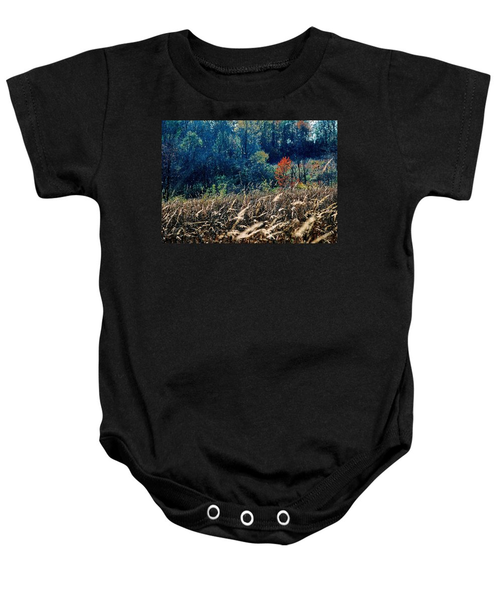 Landscape Baby Onesie featuring the photograph Prairie Edge by Steve Karol