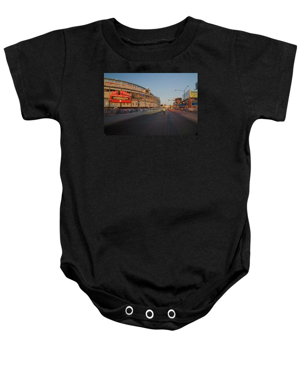 Chicago Baby Onesie featuring the photograph Pre-game Cubs Traffic by Sven Brogren
