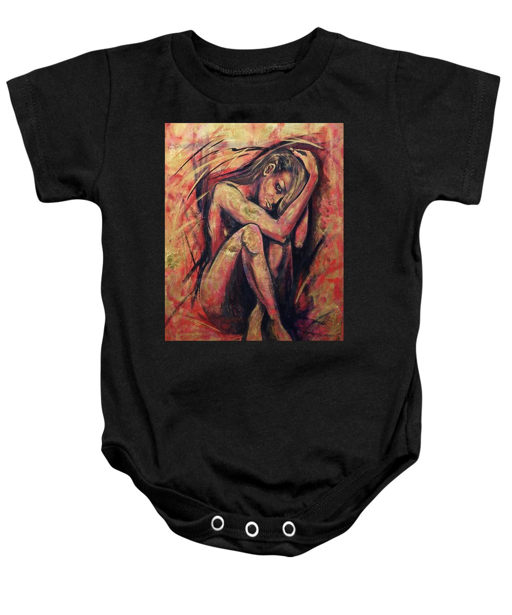 Precious Metals Iv Baby Onesie featuring the painting Precious Metals Iv by Debi Starr
