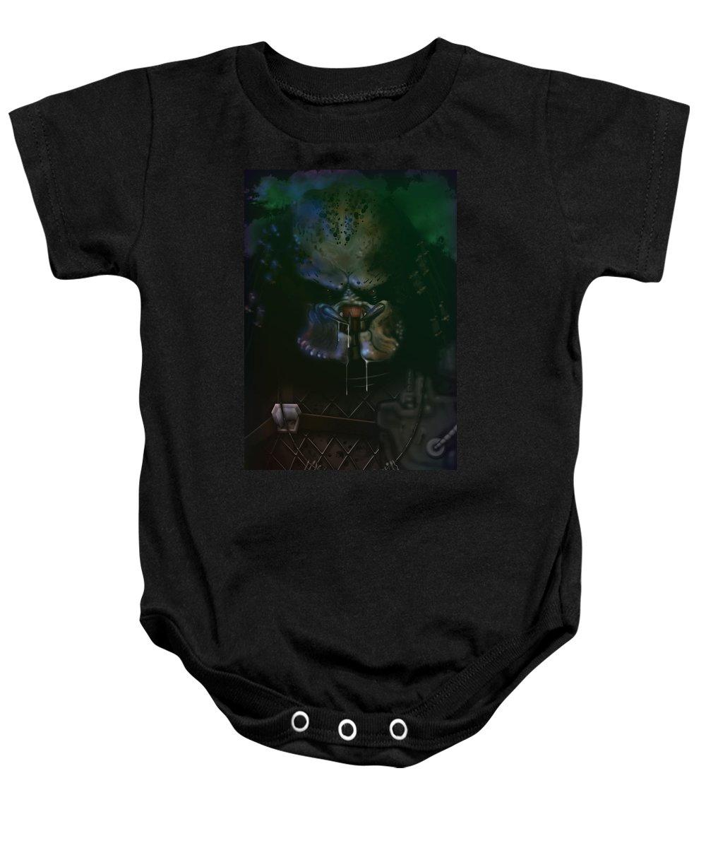 Predator Baby Onesie featuring the painting Predator Painting by Adam Ween