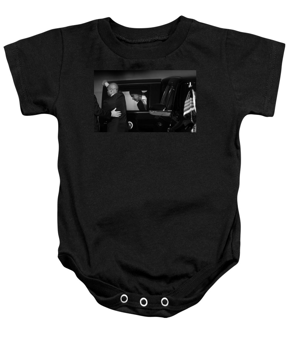 Obama Baby Onesie featuring the photograph President Obama Ix by Rafa Rivas