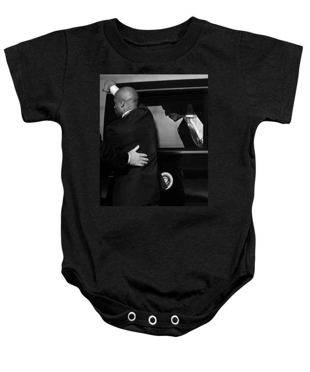 Obama Baby Onesie featuring the photograph President Obama Viii by Rafa Rivas