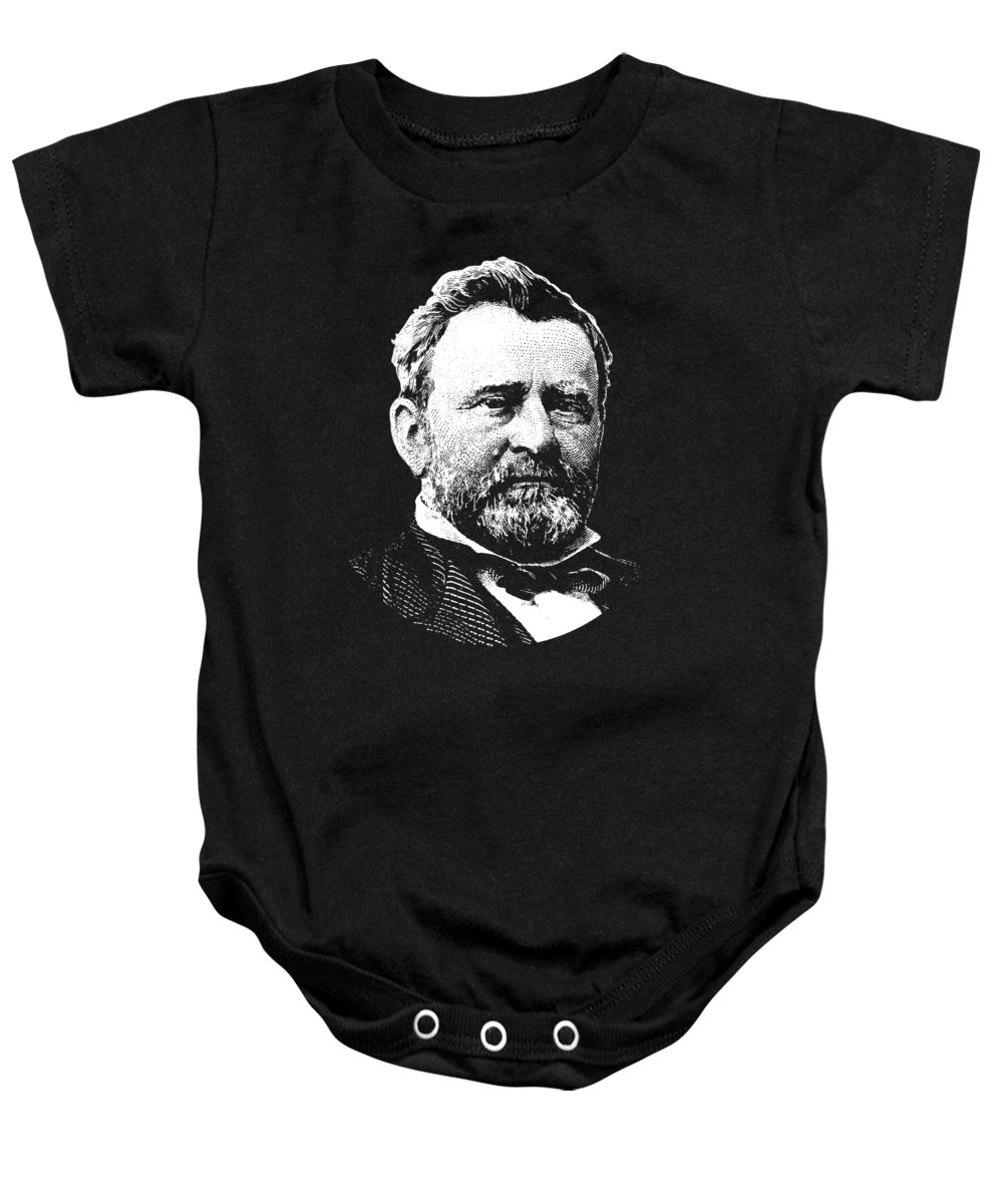 Us Grant Baby Onesie featuring the digital art President Ulysses S. Grant by War Is Hell Store