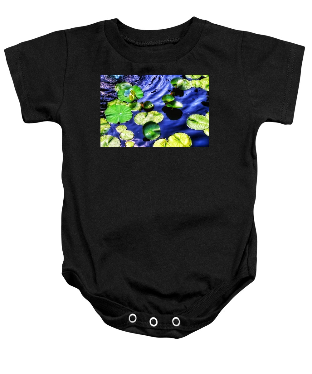 Art Baby Onesie featuring the photograph Pretty Lily Pads by Tara Ballard