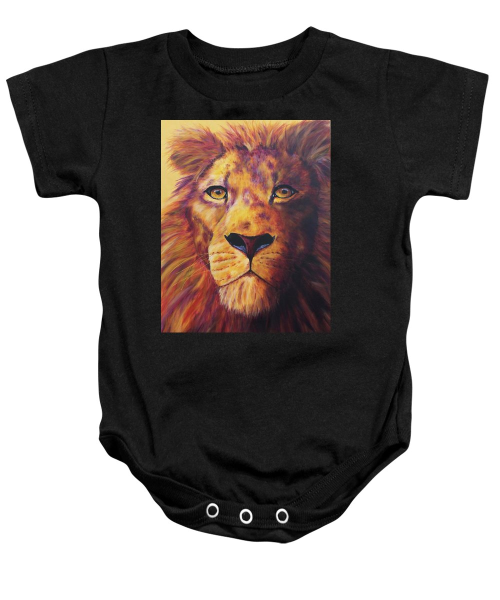 Lion Baby Onesie featuring the painting Pride by Wendi Curtis