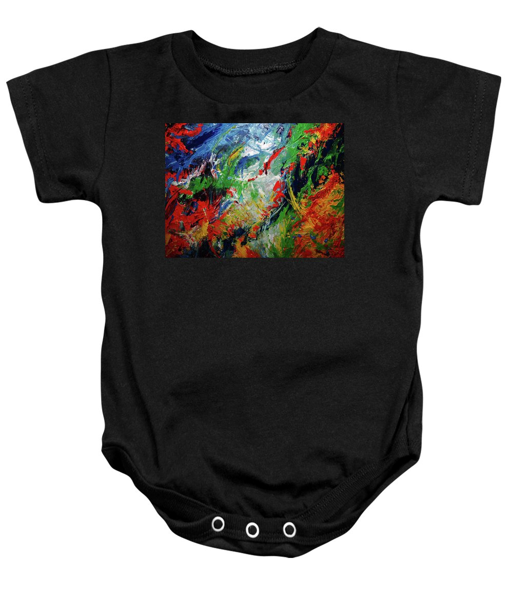 Acrylic Baby Onesie featuring the painting Primary Abstract I Detail 2 by Nancy Mueller