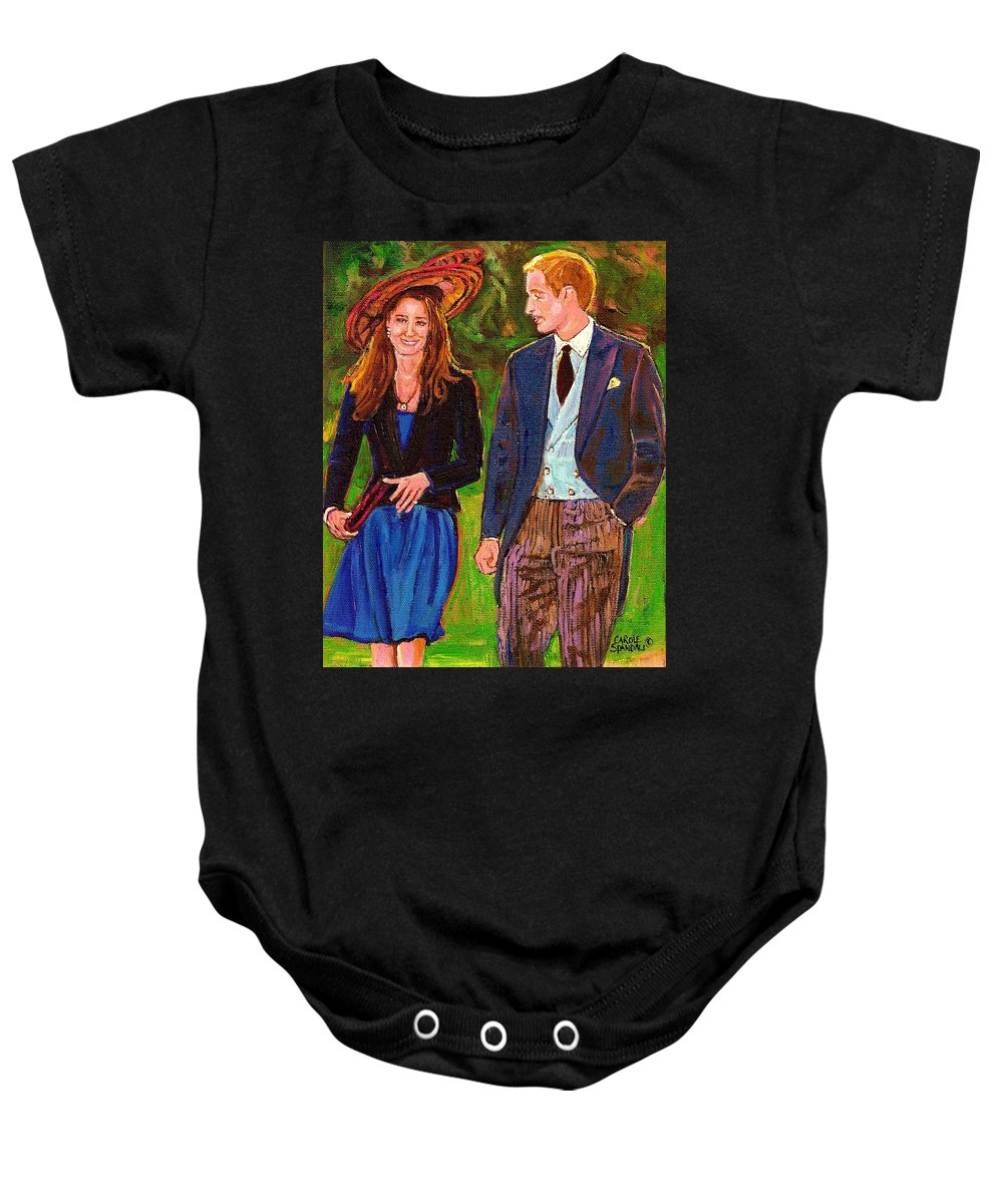 Wills And Kate Baby Onesie featuring the painting Prince William And Kate The Young Royals by Carole Spandau
