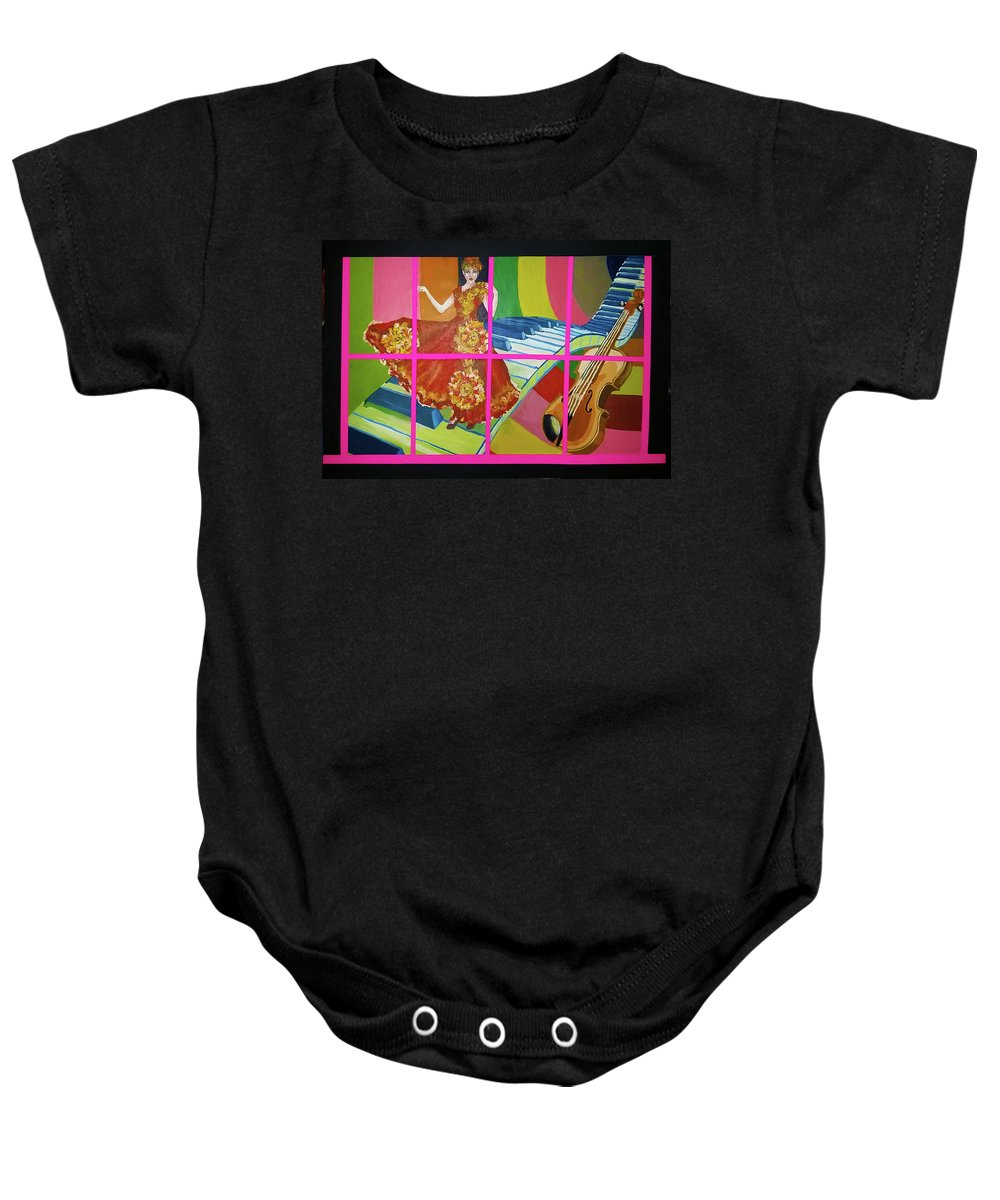 Music Baby Onesie featuring the painting Prisoner Music by Maria Rom