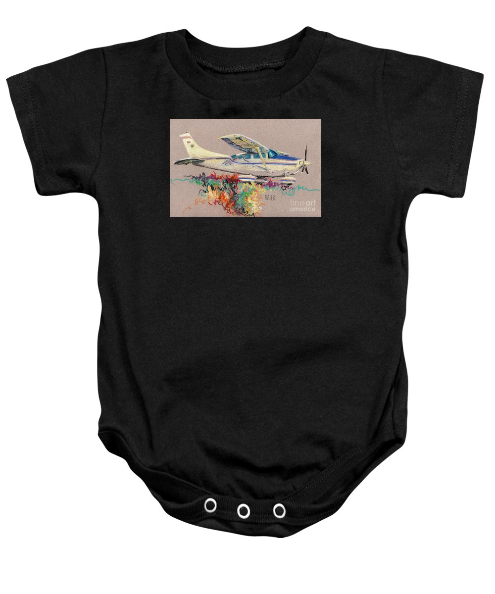 Small Plane Baby Onesie featuring the drawing Private Plane by Donald Maier