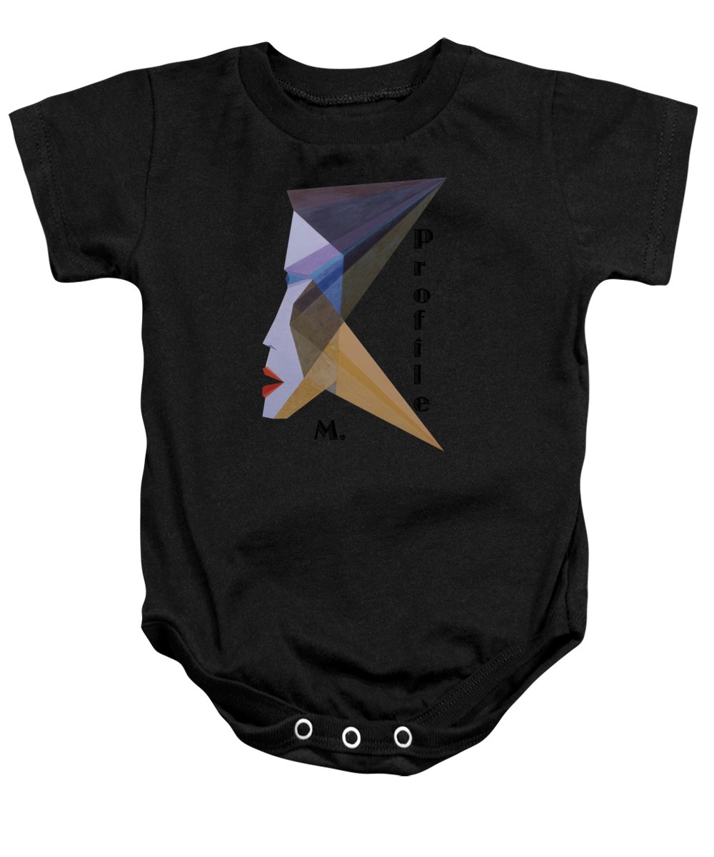 Painting Baby Onesie featuring the painting Profile M. Text by Michael Bellon