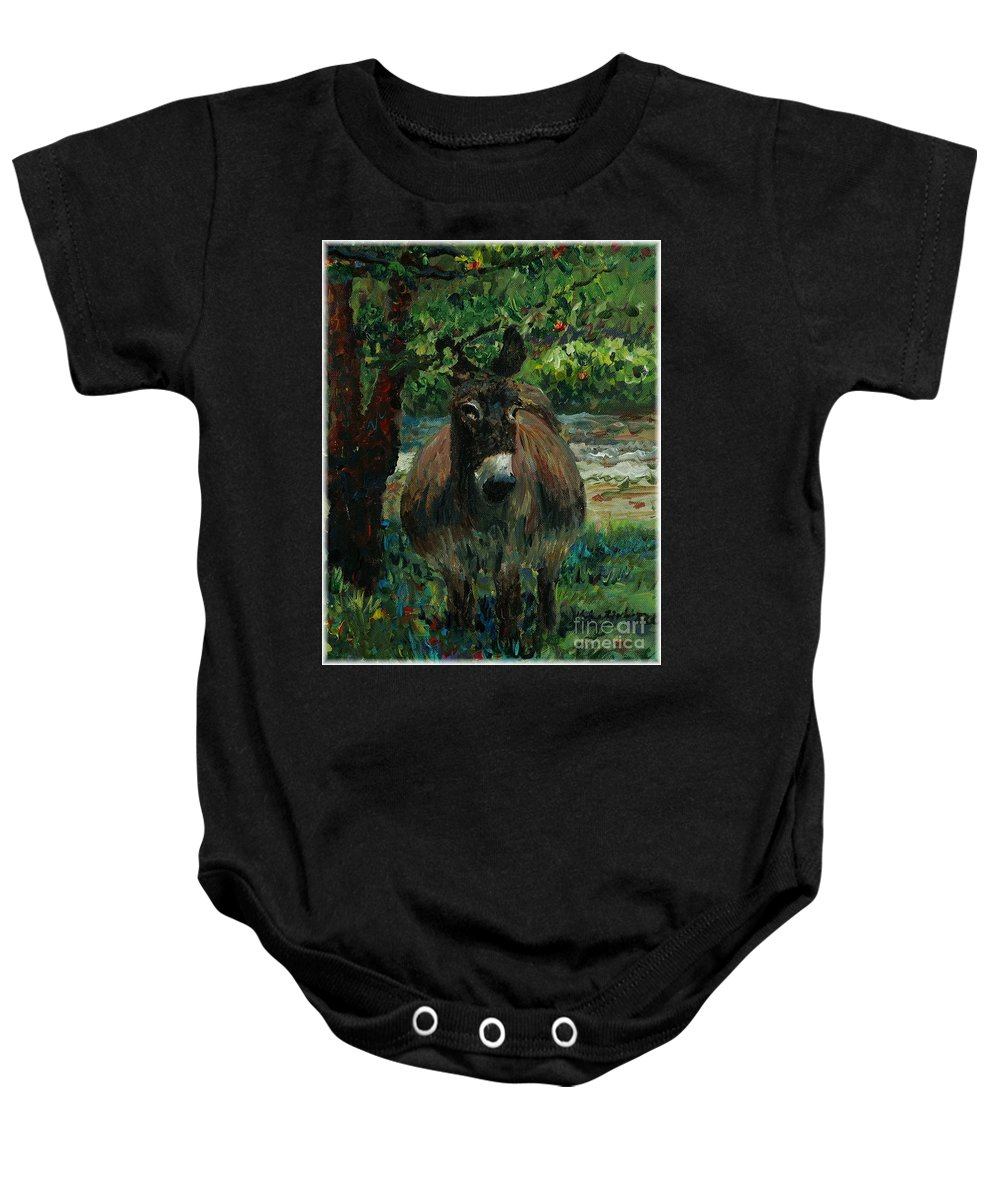 Donkey Baby Onesie featuring the painting Provence Donkey by Nadine Rippelmeyer
