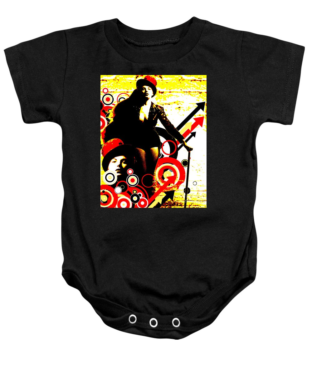 Nostalgic Seduction Baby Onesie featuring the digital art Prurient Performer by Chris Andruskiewicz