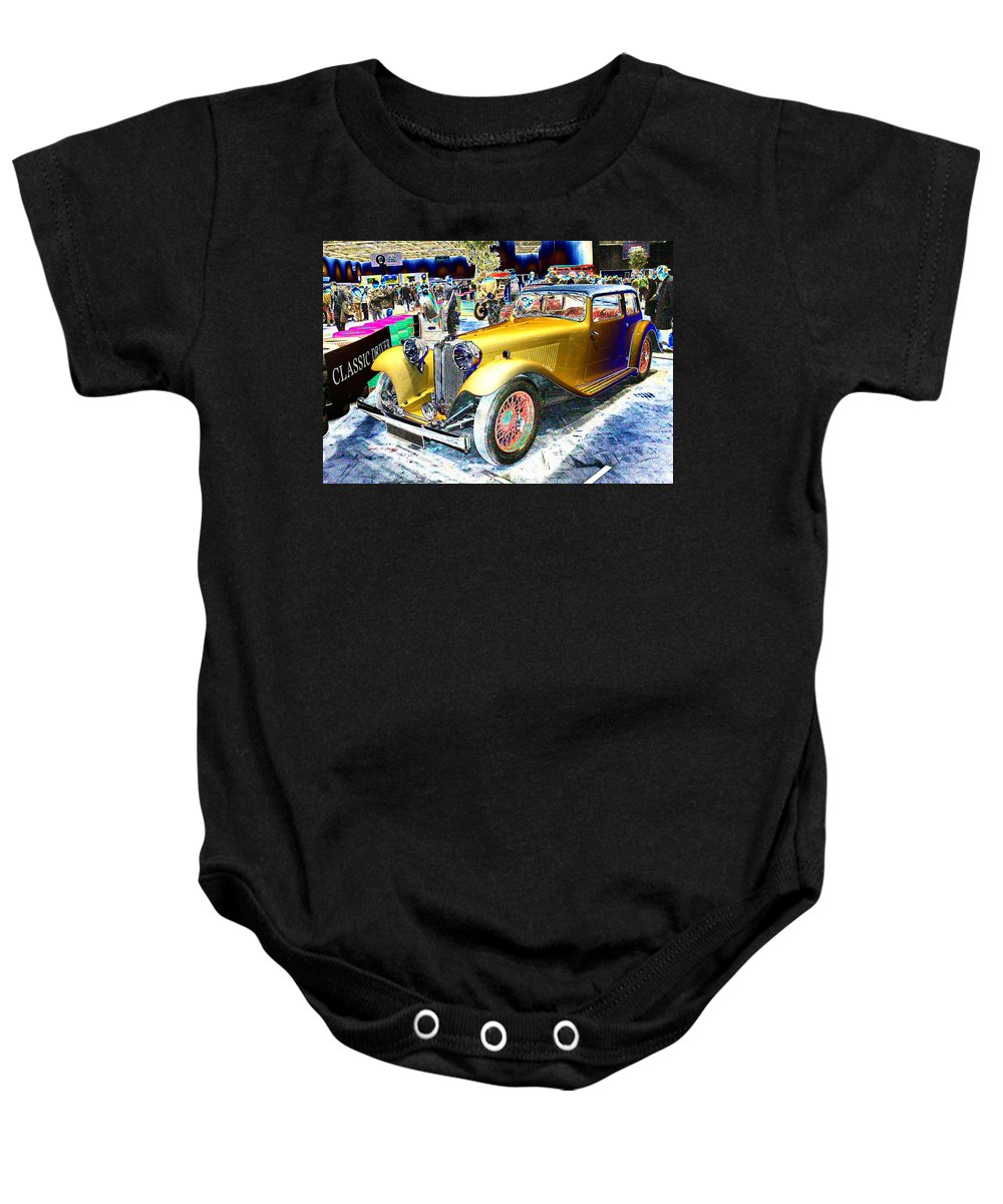Psychedelic Baby Onesie featuring the photograph Psychedelic 1930 Jaguar Ss1 At London Classic Car Show 2015 by Peter Lloyd