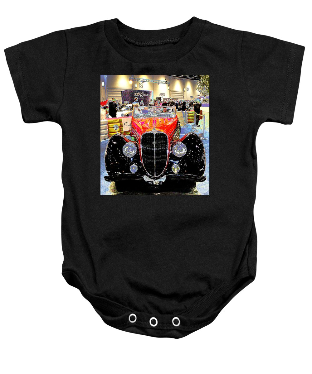 Psychedelic Baby Onesie featuring the photograph Psychedelic 1947 Delahaye 135m Letourner Et Marchand Cabriolet by Peter Lloyd